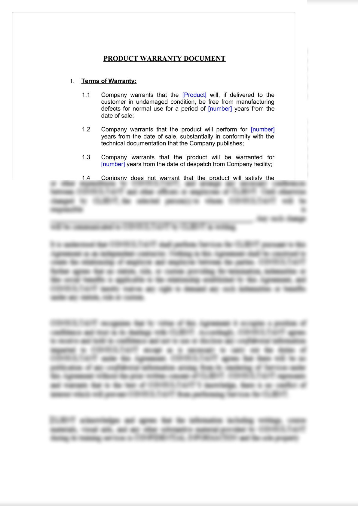 Product Warranty Document-2