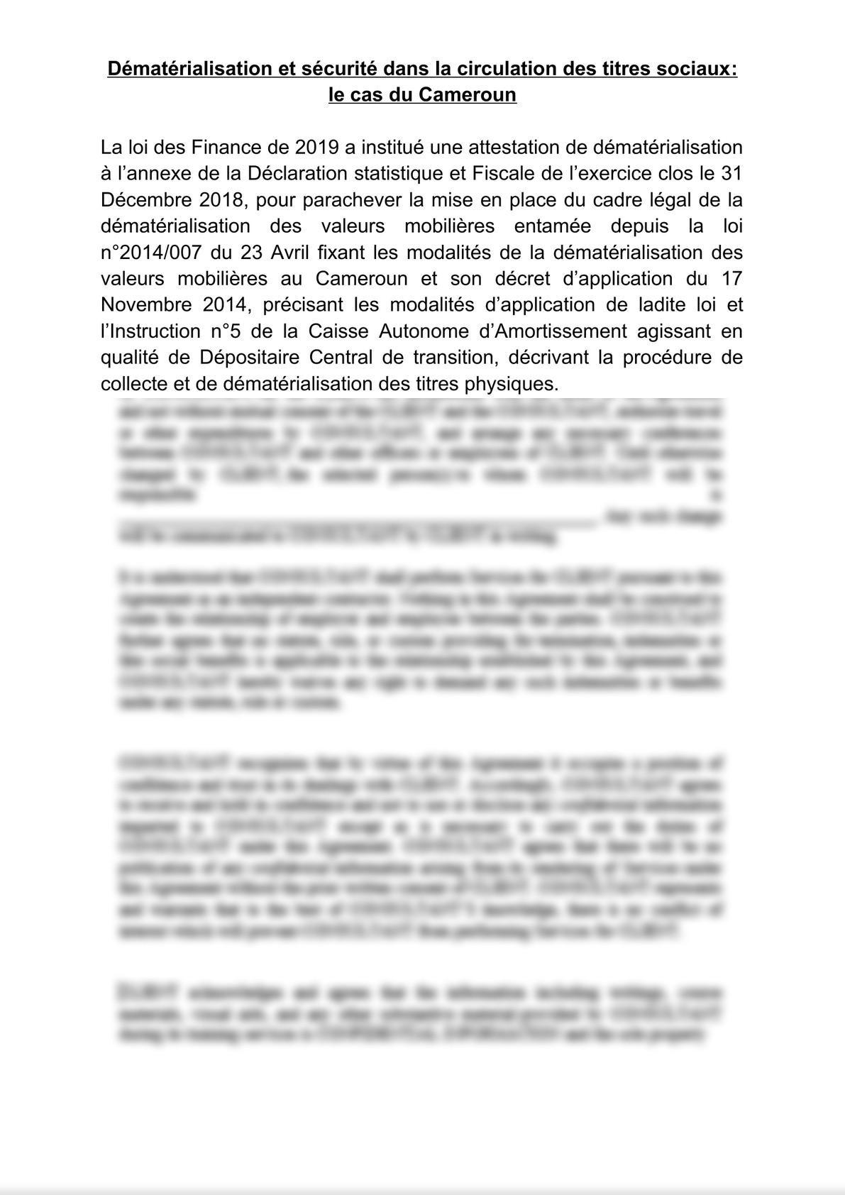 Dématérialisation et sécurité dans la circulation des titres sociaux : le cas du Cameroun-0