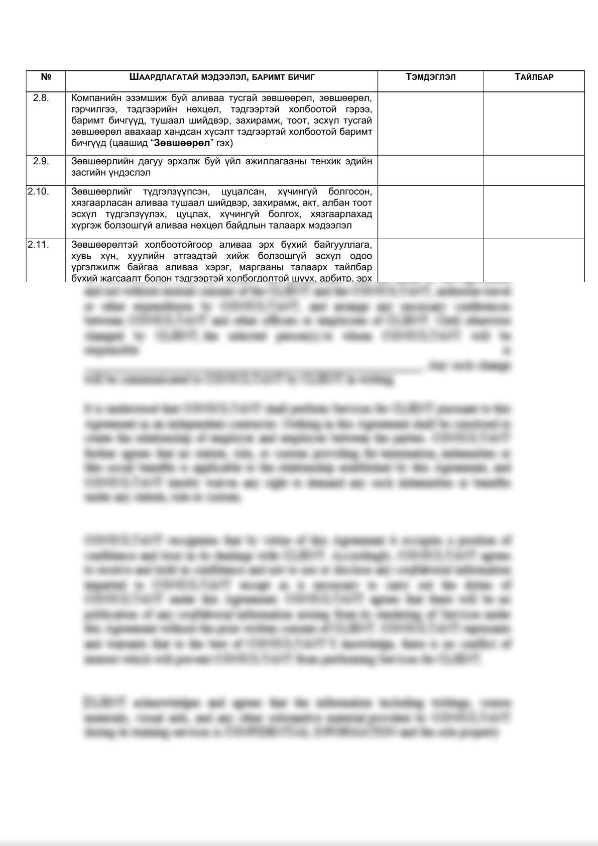 Legal due diligence checklist (Mongolian legal entities)    -7