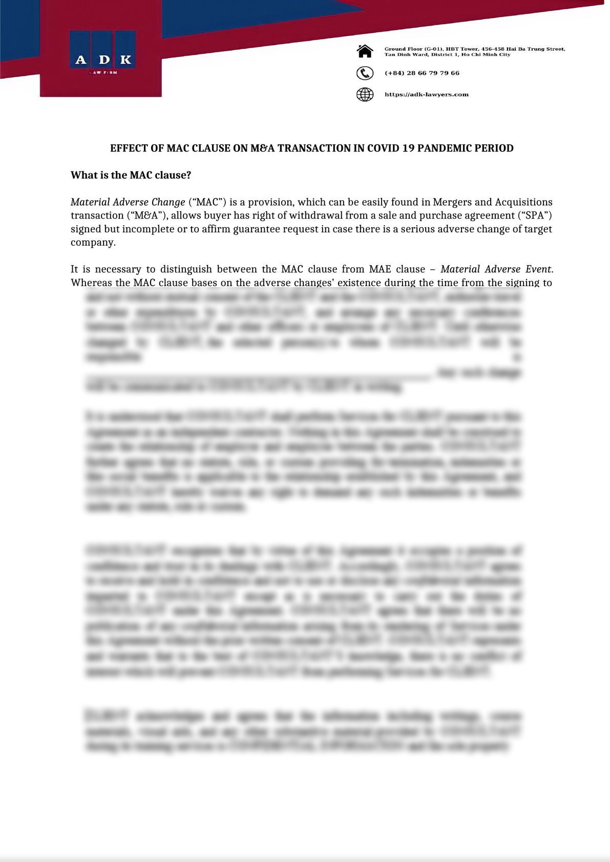 MAC CLAUSE ON M&A TRANSACTION IN COVID 19 PANDEMIC PERIOD-0