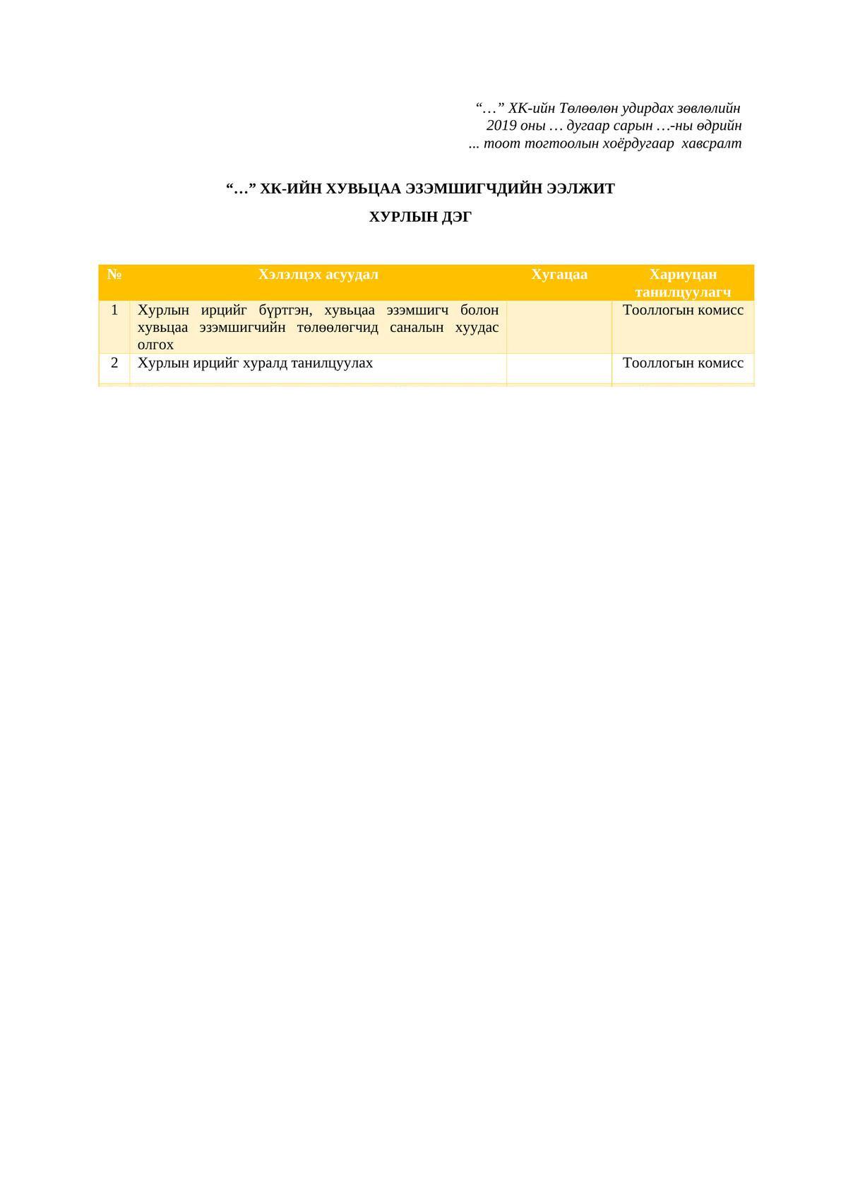 ХЭЭХ-ыг хуралдуулахтай холбоотой багц баримт бичиг -1