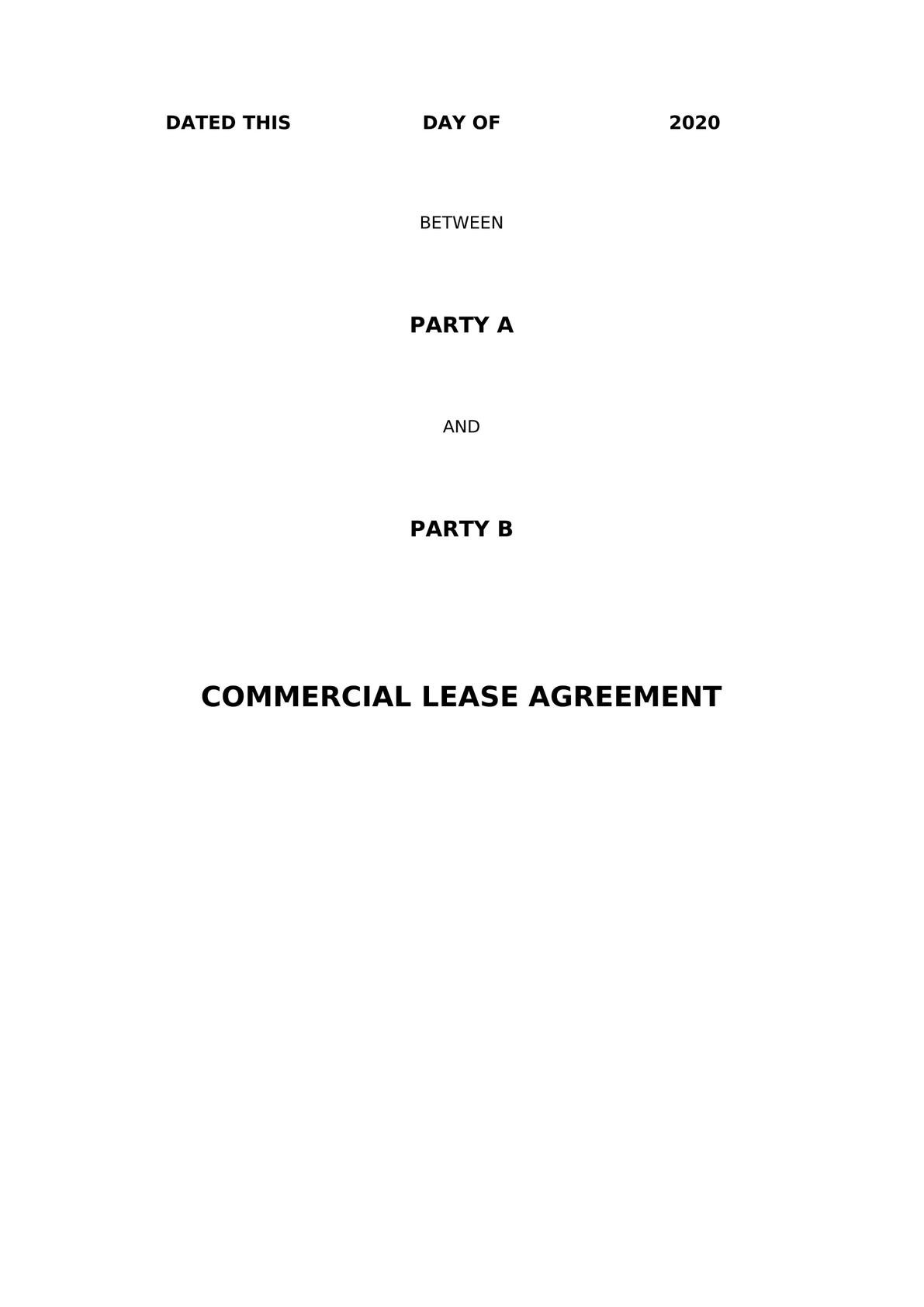 Commercial Lease Agreement for Lease of Hotel Building-0