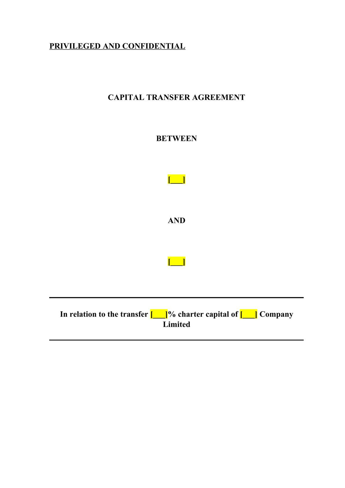CAPITAL TRANSFER AGREEMENT -0