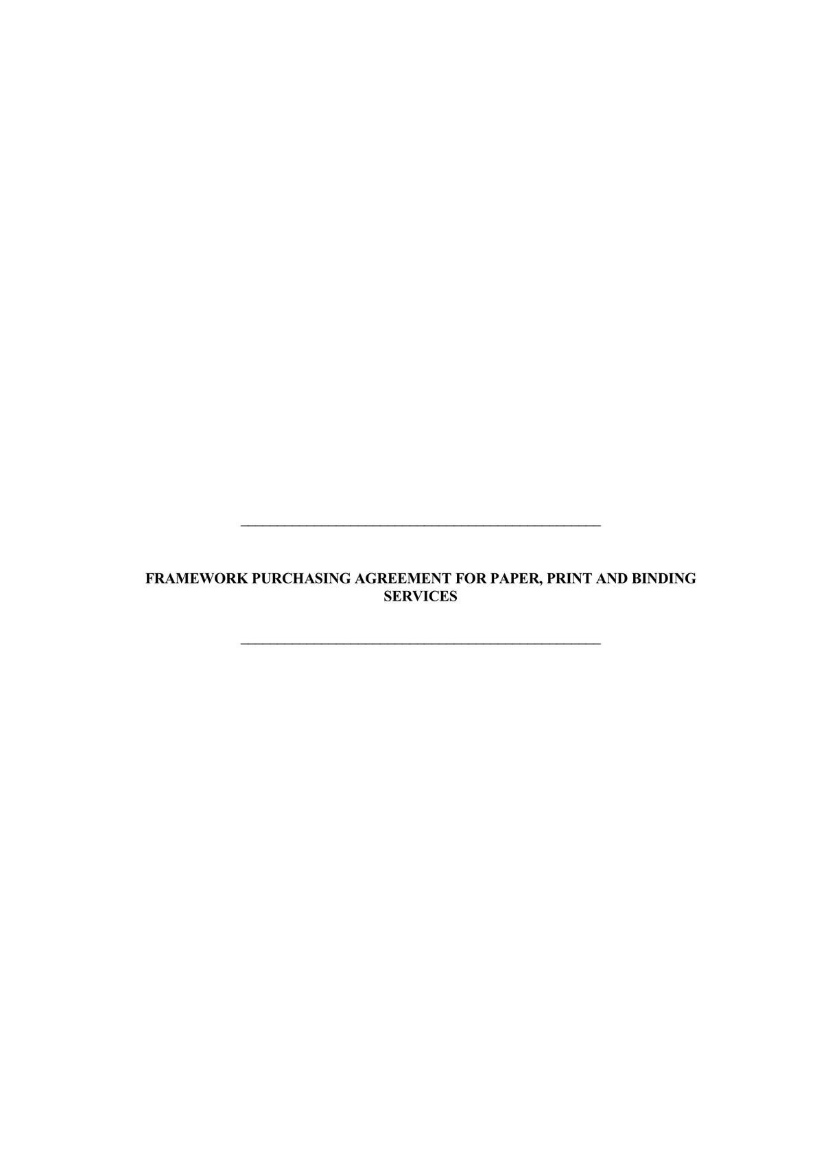 Framework Purchasing Agreement for paper, print and binding services-0