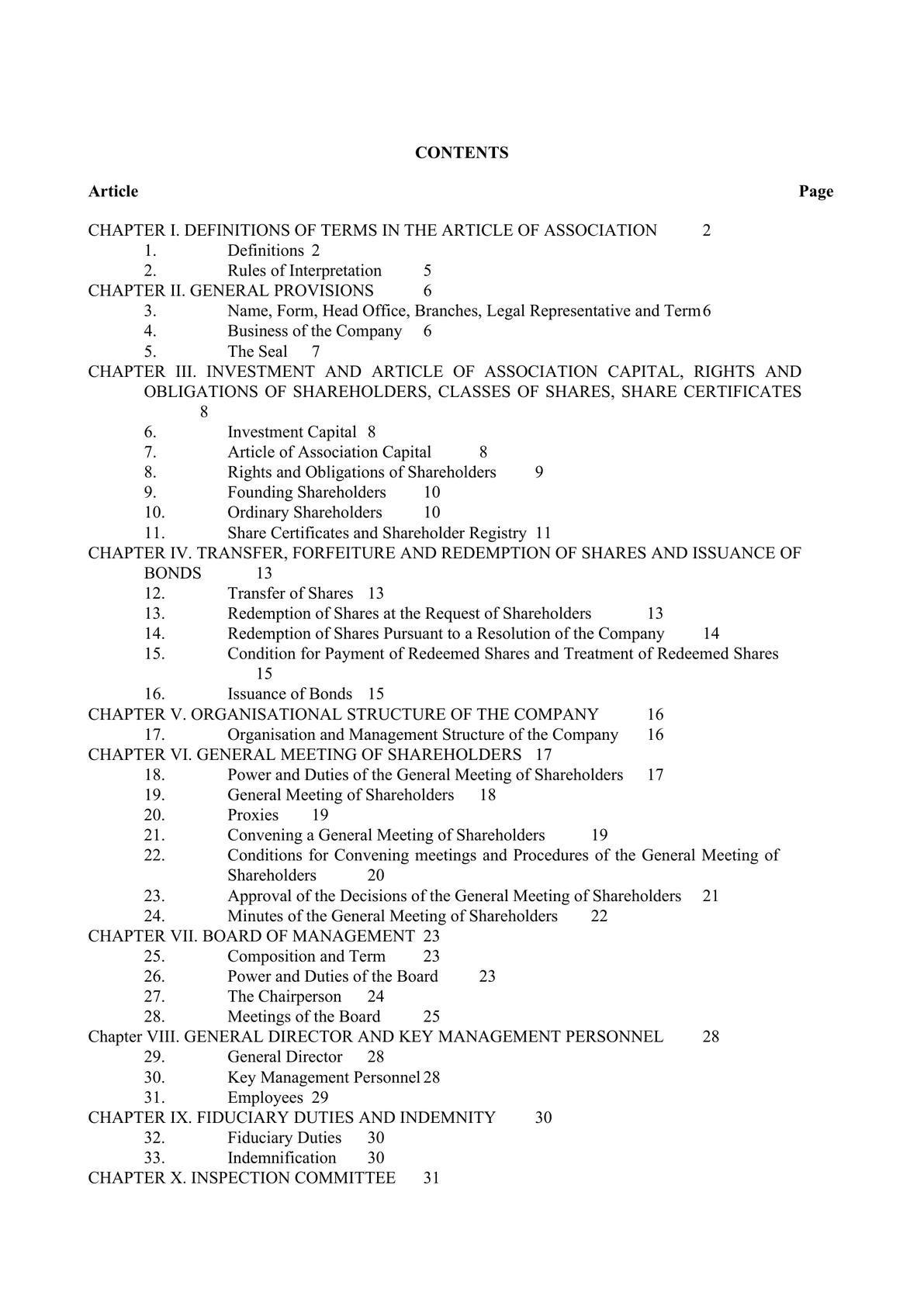 Memorandum of Association for Vietnamese Joint Stock Company -0