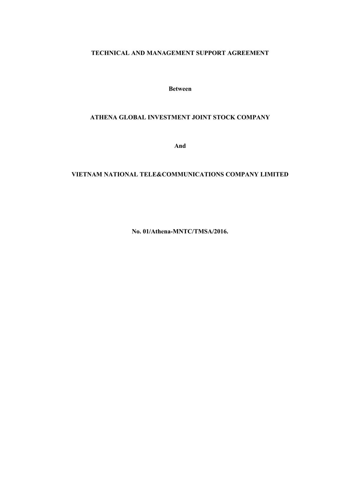 Technical and Management Service Agreement in Telecom -0