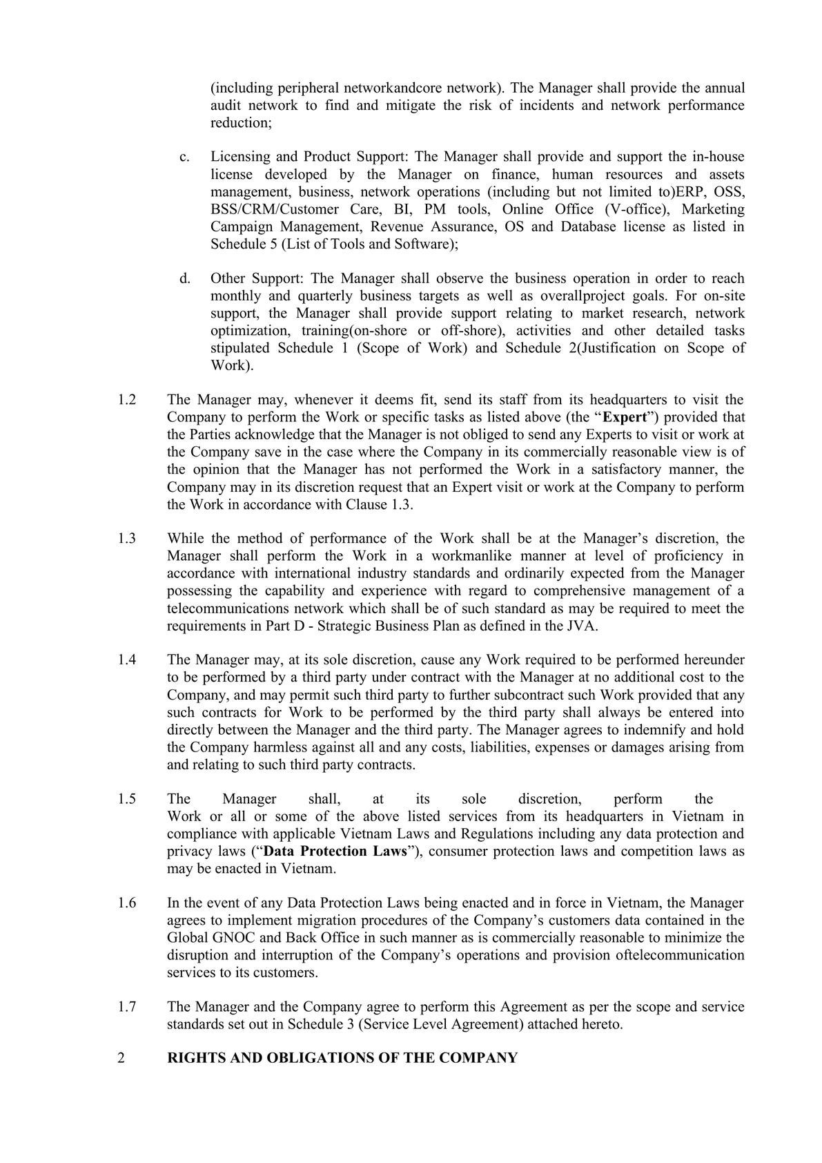 Technical and Management Service Agreement in Telecom -3