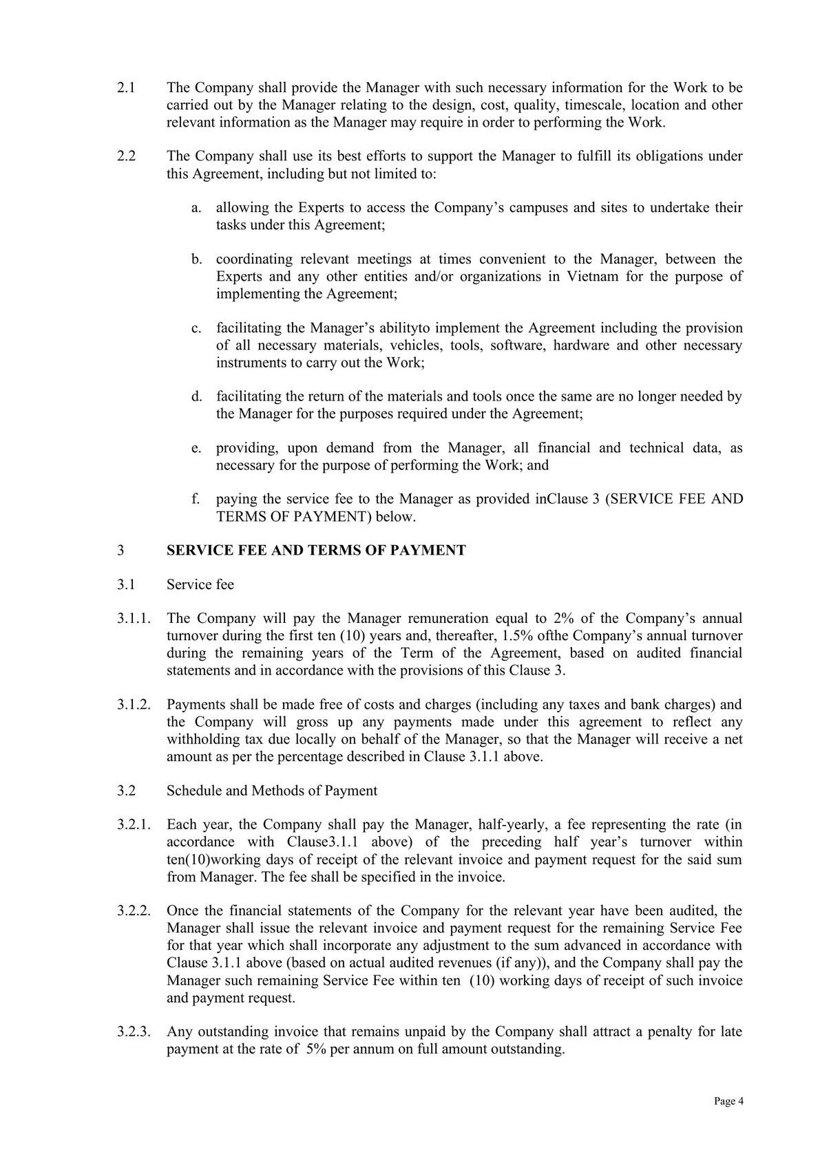 Technical and Management Service Agreement in Telecom -2
