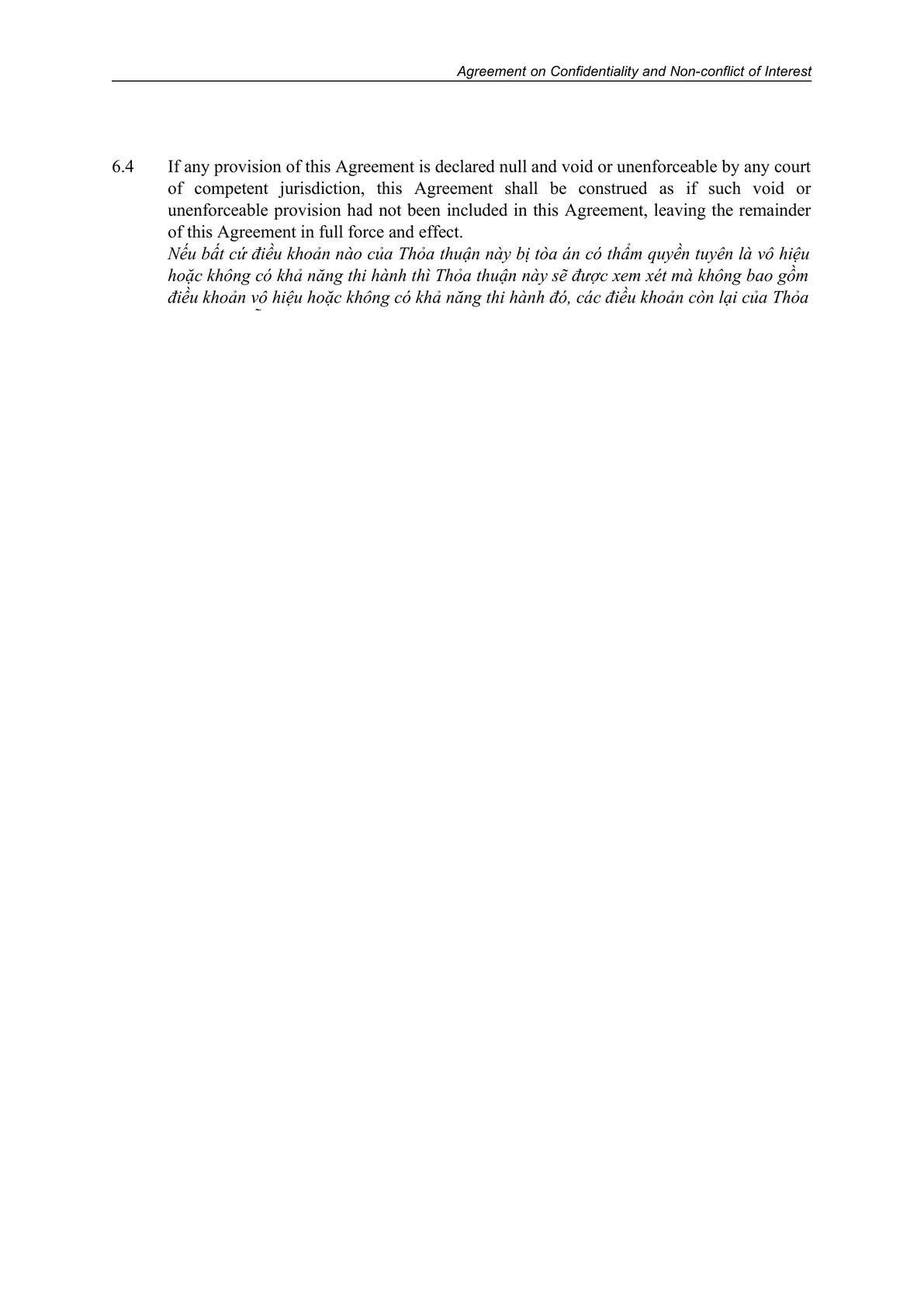 Standard Confidential Agreement_Traineeship_English & Vietnamese-0