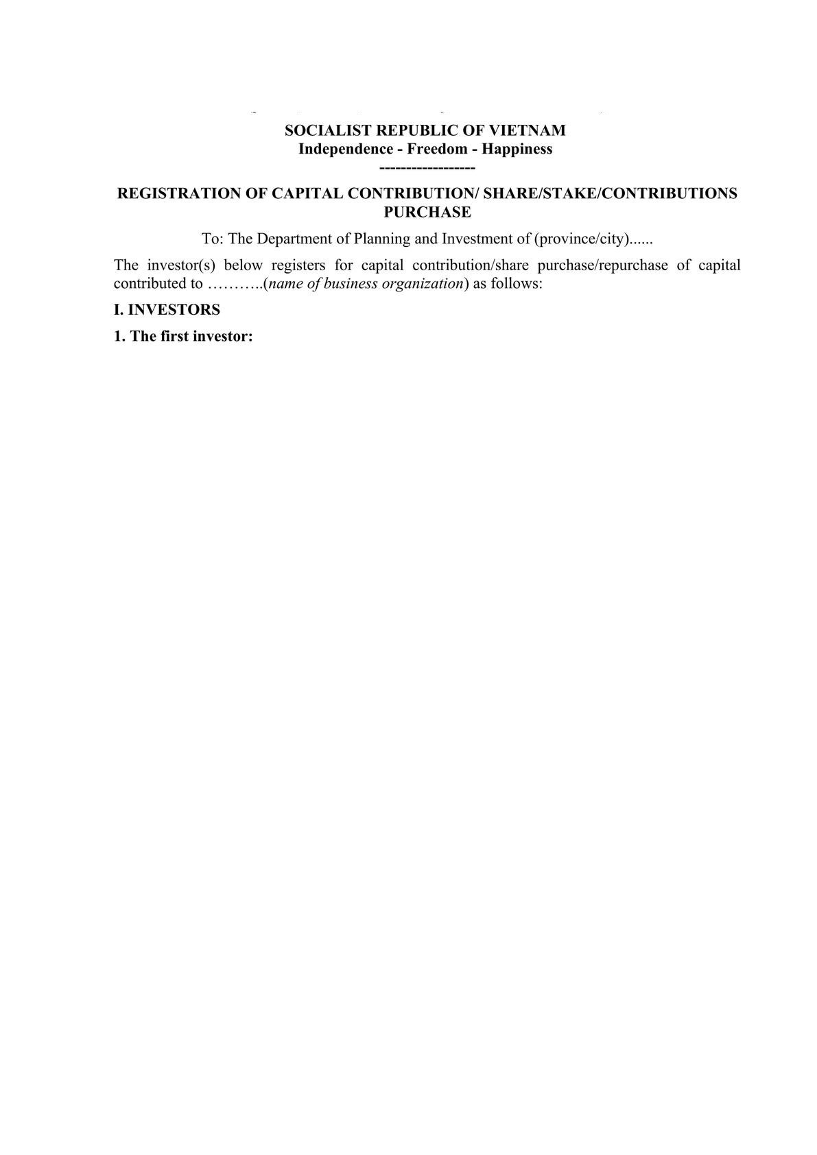 Notification template for approval M&A in Vietnam (in Vietnamese and English)-0