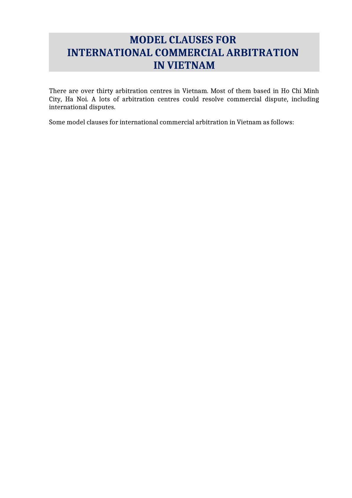 Model clauses for commercial arbitration in Vietnam-0