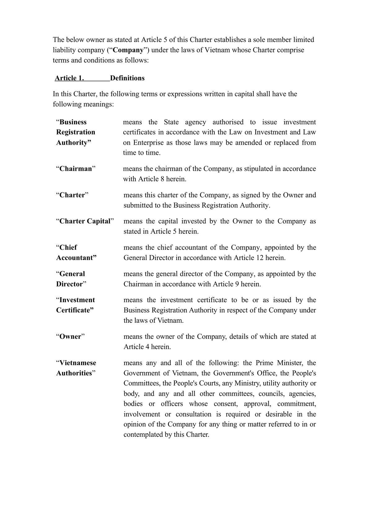 Charter template of sole member limited company in Vietnam (English)-0