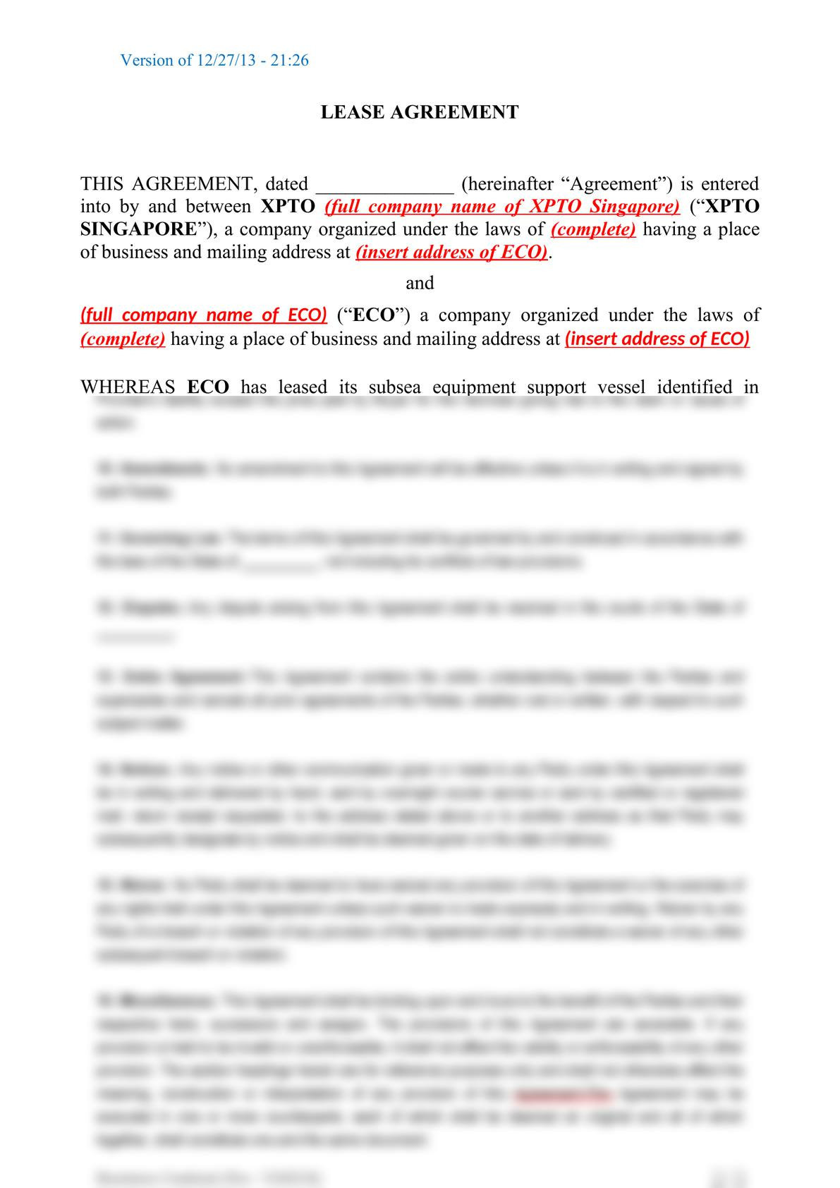 Subsea equipment lease agreement-0
