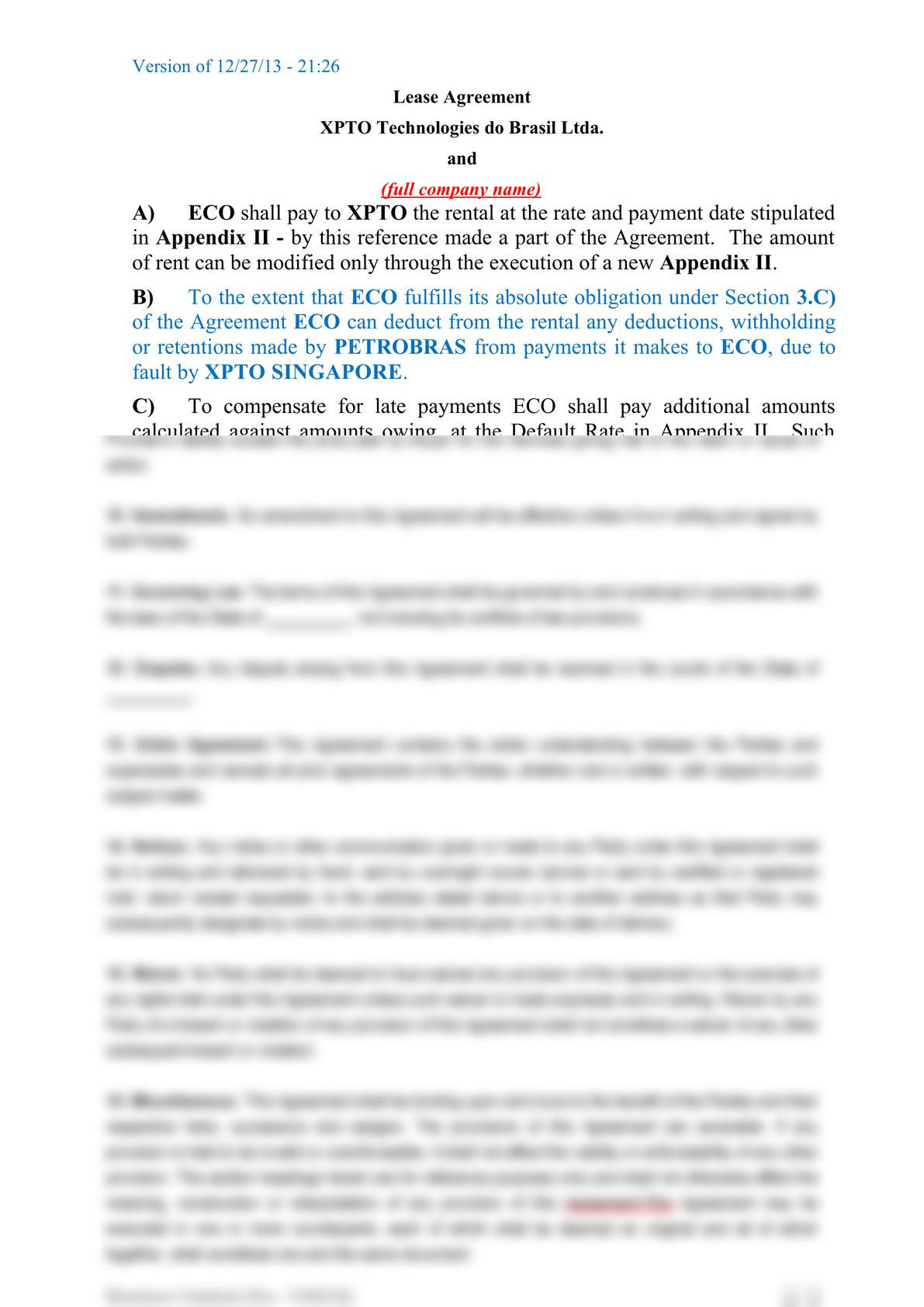 Subsea equipment lease agreement-1
