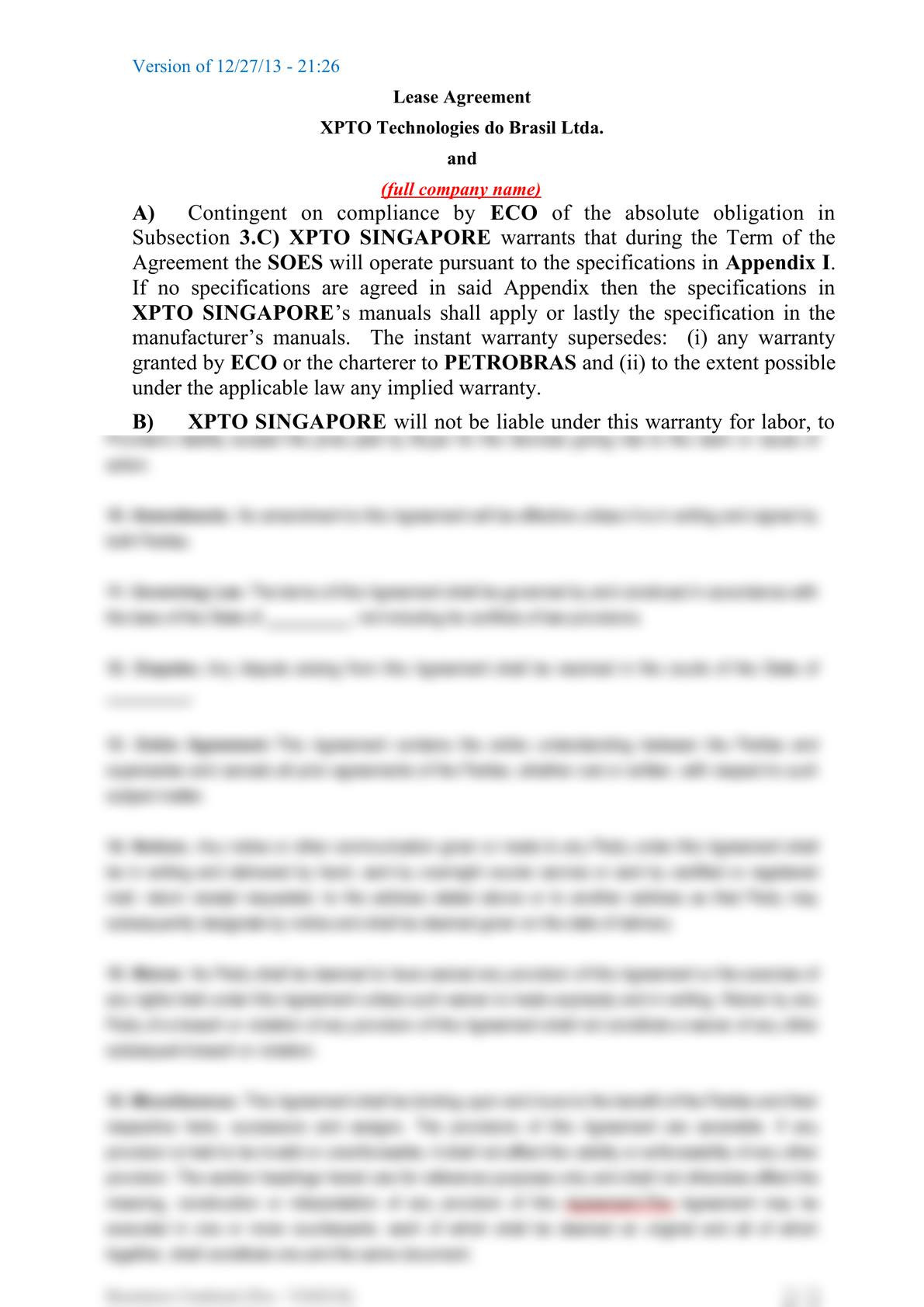 Subsea equipment lease agreement-5