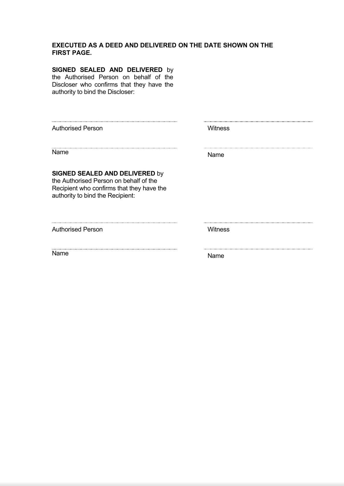 Confidentiality [One Way] and Privacy Deed - Long Form - Variables in a table-1