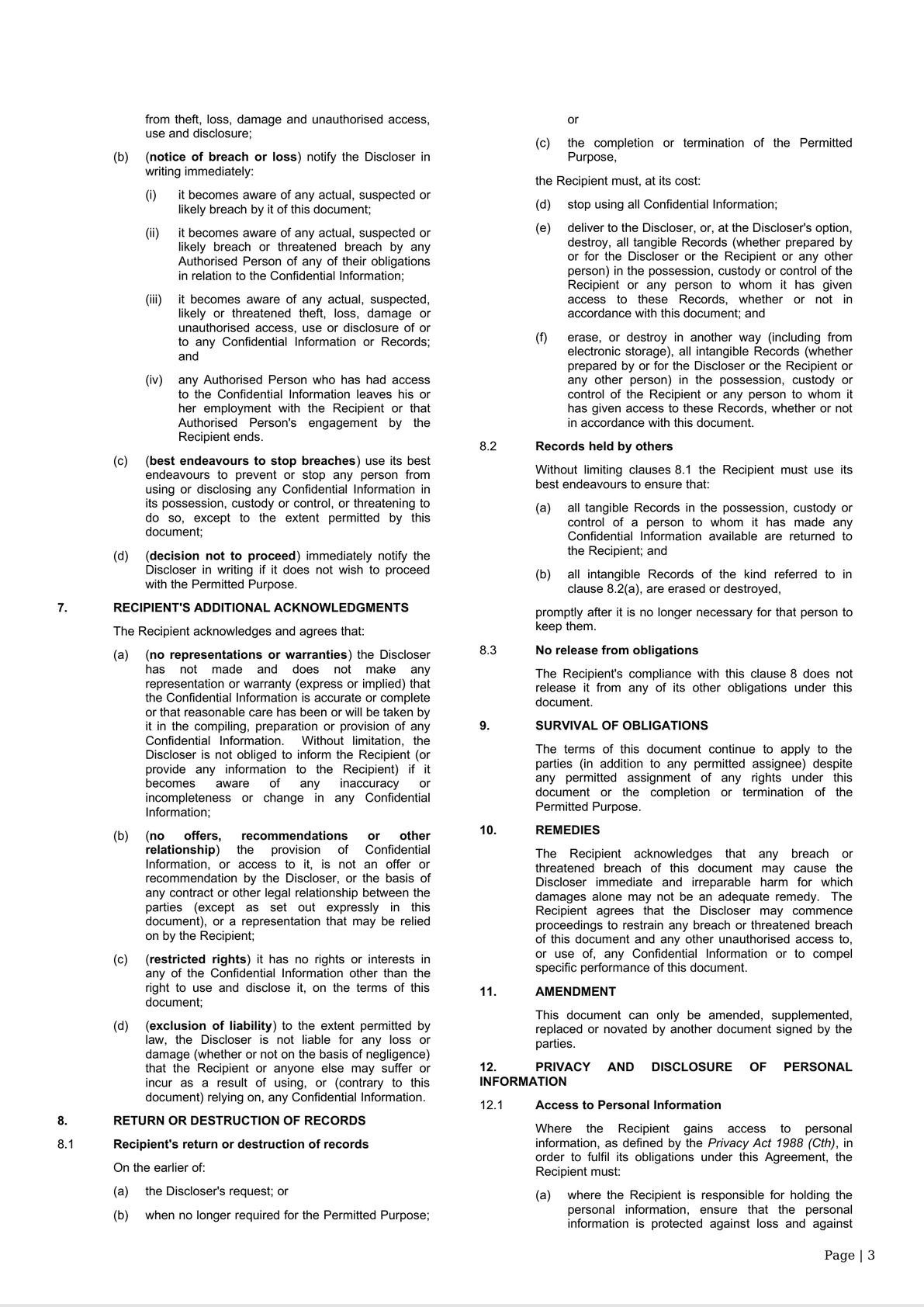 Confidentiality [One Way] and Privacy Deed - Long Form - Variables in a table-4