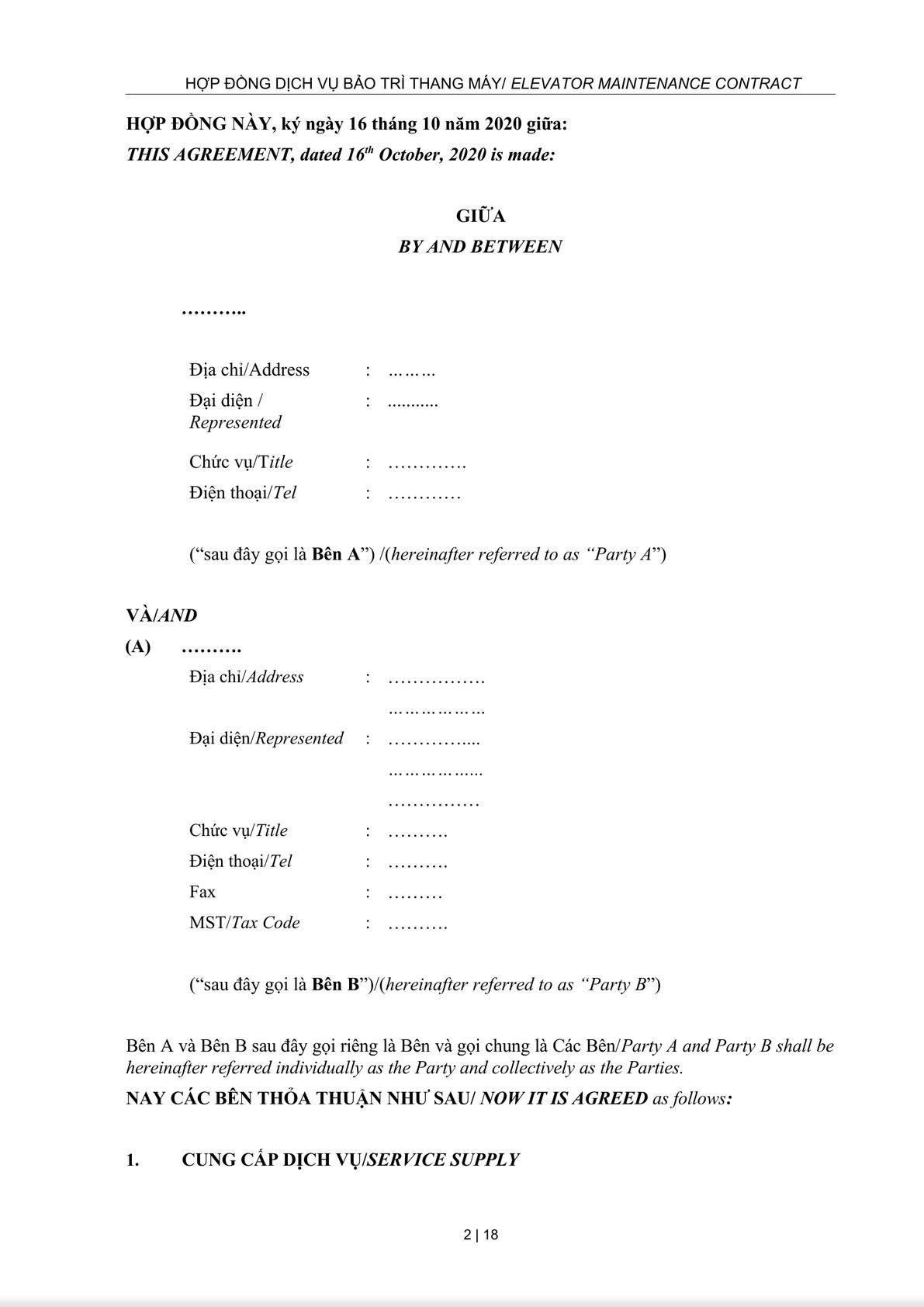 Maintenance Service Agreement-1