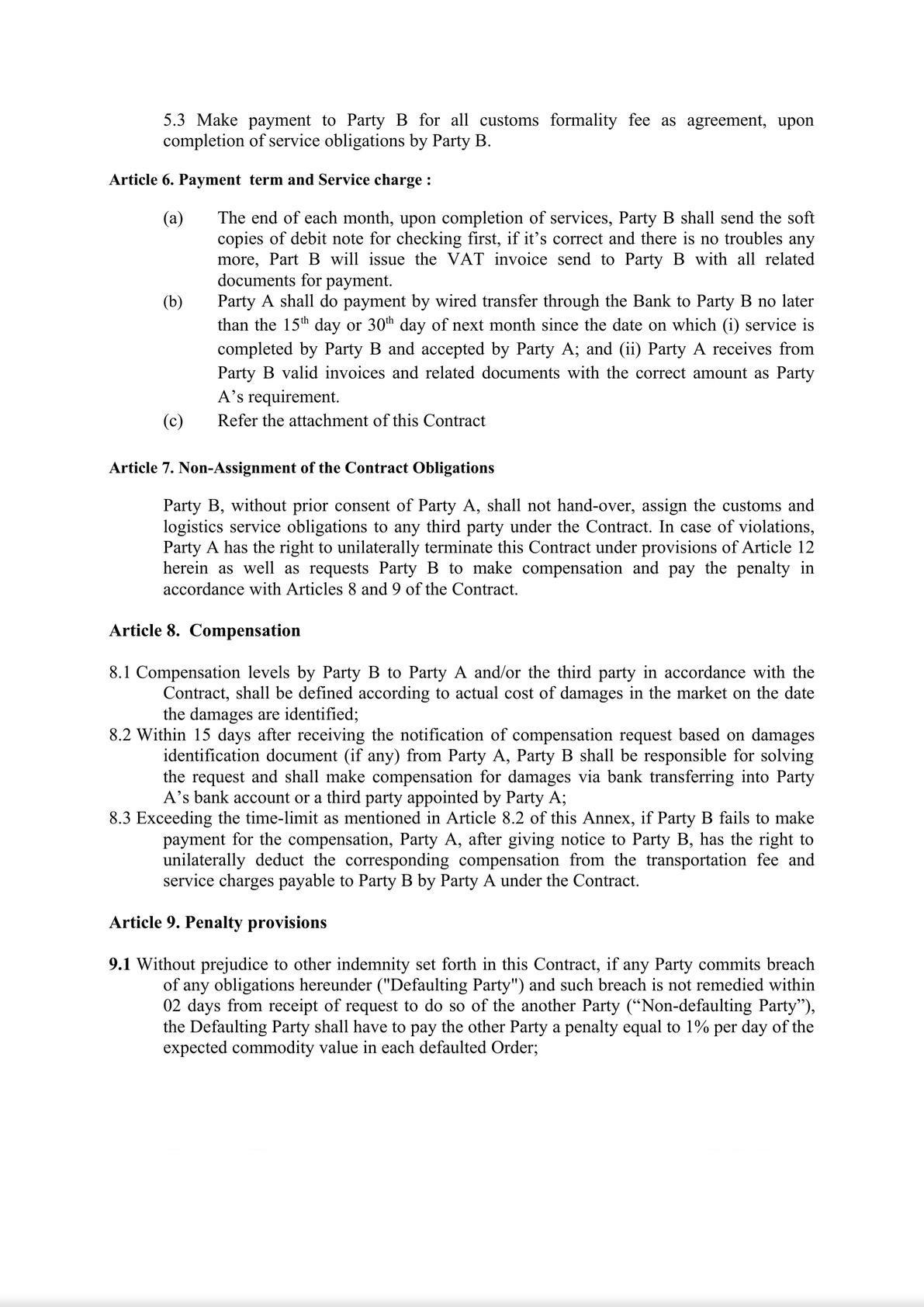 Customs Broker Service Contract-3