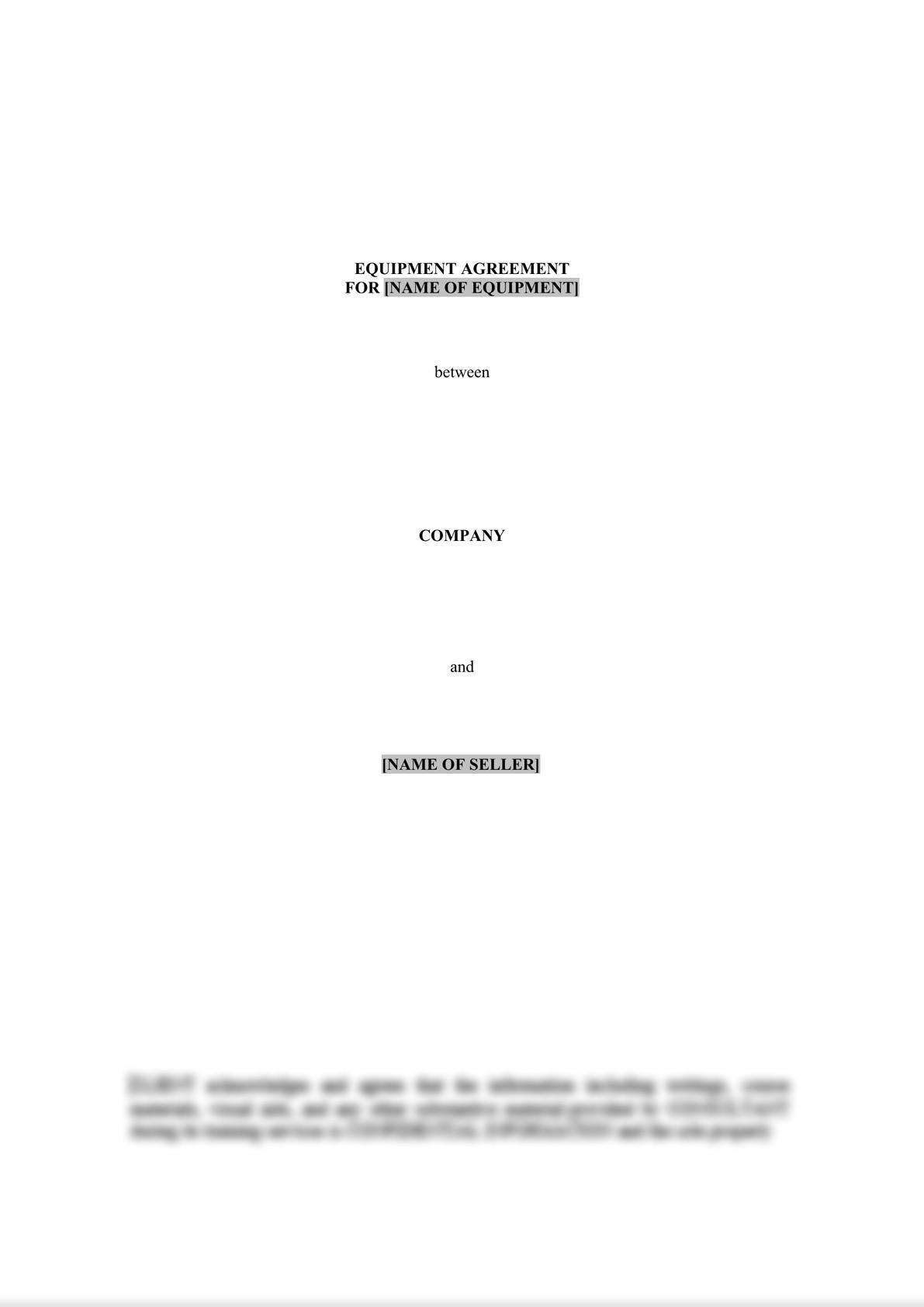 Equipment Agreement-0