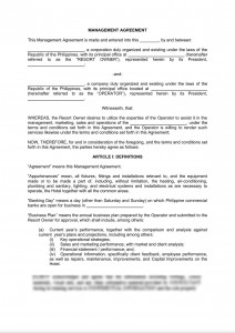 Hotel Management Agreement