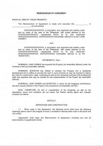Memorandum of Agreement - Property Development