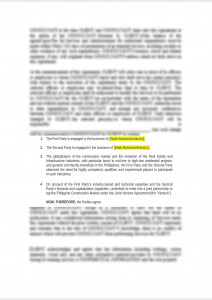 Joint Venture Agreement (Real Estate and Construction)