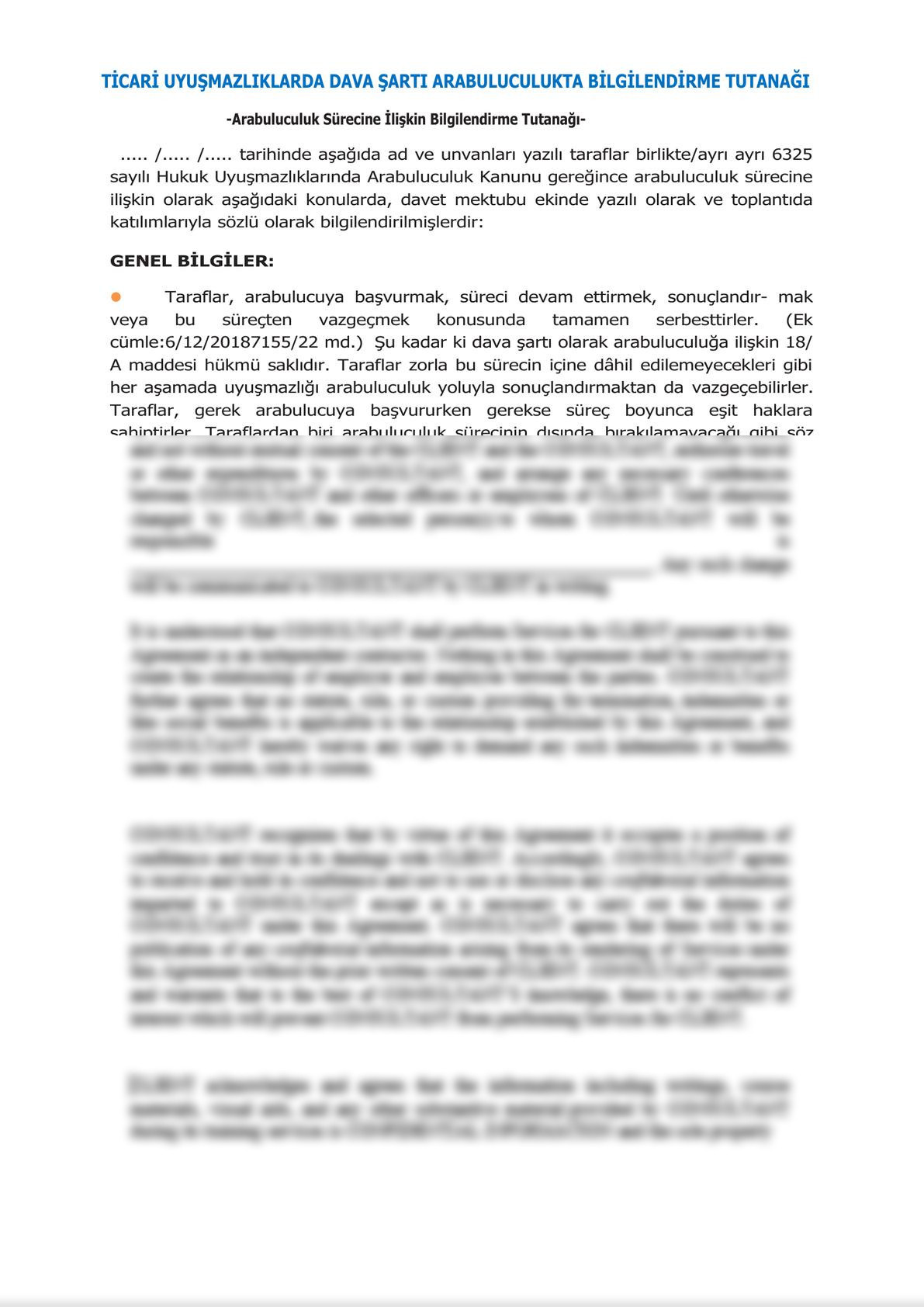 Minute of Informing Parties Before Mandatory Mediation for Commercial Disputes - Turkish-0